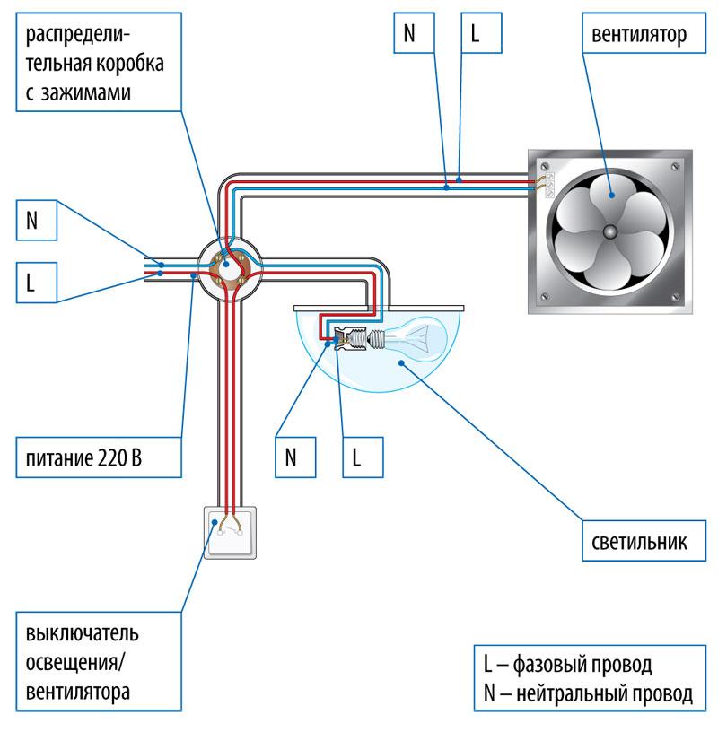 схема подключения вентилятора параллельно со светильником