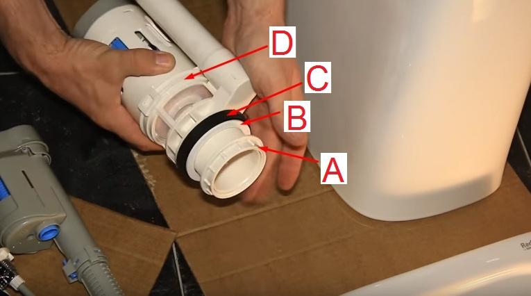 Комплектация сливного клапана. А – Гайка для крепления к бачку унитаза. В – Пластмассовая шайба. С – Уплотнительное кольцо, необходимо для герметизации соединения. D – Сам сливной клапан. Трубка справа необходима для перелива воды, поднявшейся в бачке выше критической отметки. В некоторых унитазах подобный механизм устанавливается не сбоку, а внутри сливного клапана