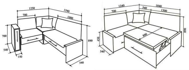 Чертеж диванов с размерами