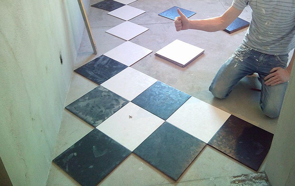 Предварительная раскладка плитки
