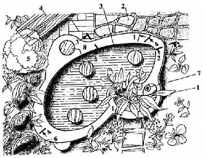 Декоративный бассейн для сбора атмосферных вод с приусадебного участка