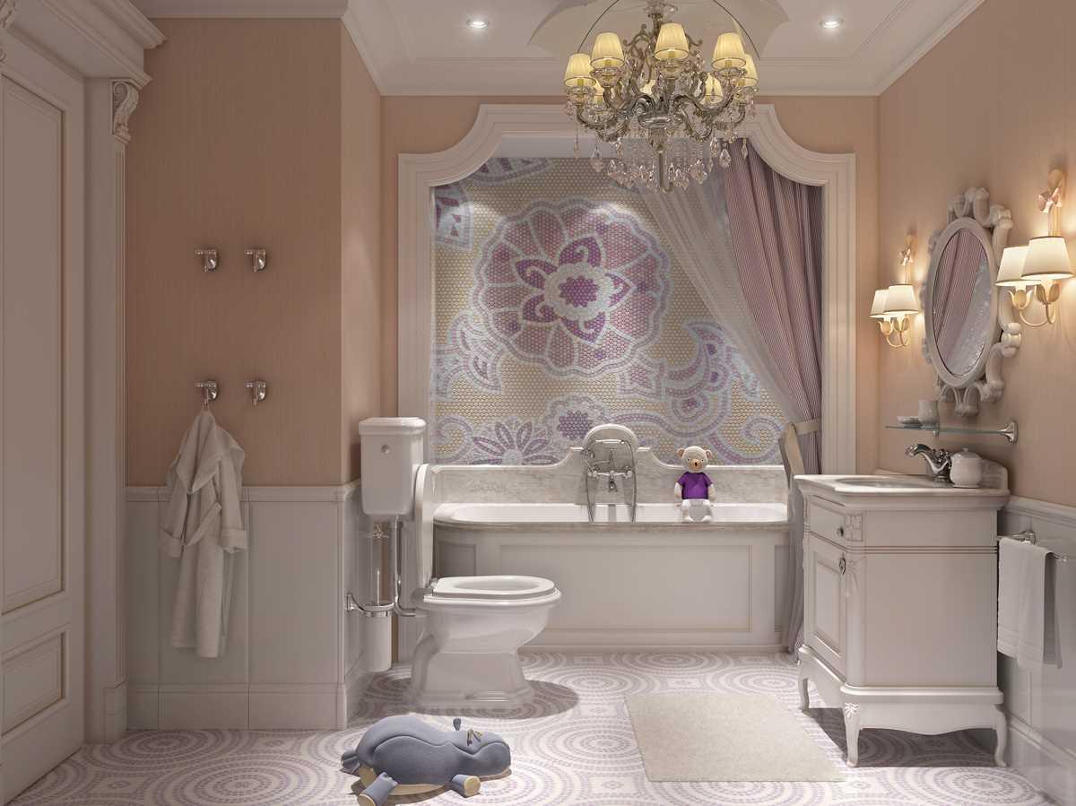 вариант оригинального интерьера ванной комнаты