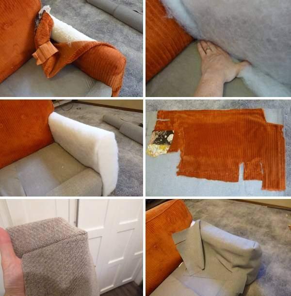 Ремонт дивана своими руками - перетяжка подлокотников