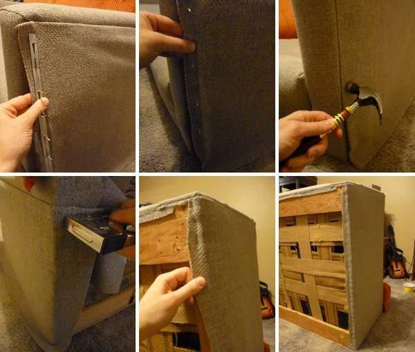 Перетяжка мягкой мебели - пошагово на примере дивана