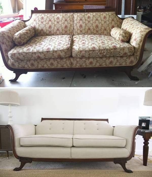 Реставрация мягкой мебели - фото дивана до и после