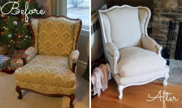 Реставрация мягкой мебели - фото кресла до и после ремонта