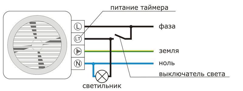 Как по схеме соединить вентилятор к выключателю