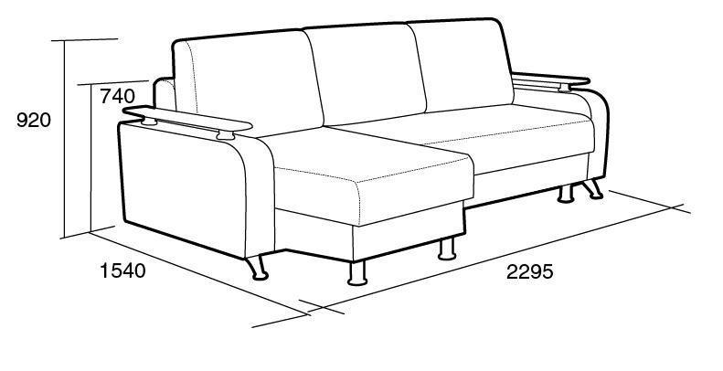 Чертеж мягкой современной мебели