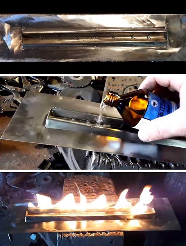 Розжиг топливного блока из нержавейки