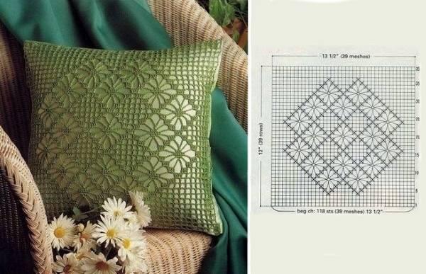 Красивые вязанные подушки на диван крючком