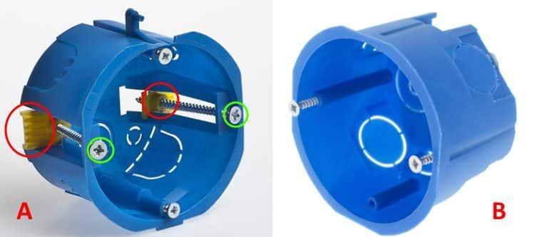 Подрозетники: для гипсокартона (А) и бетона или кирпича (В)