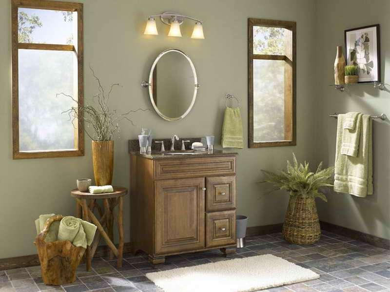 окрашенные серым стены в ванной