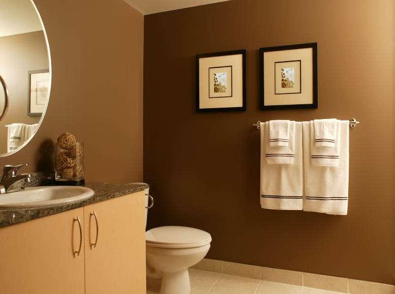 покраска стен в ванной в коричневый