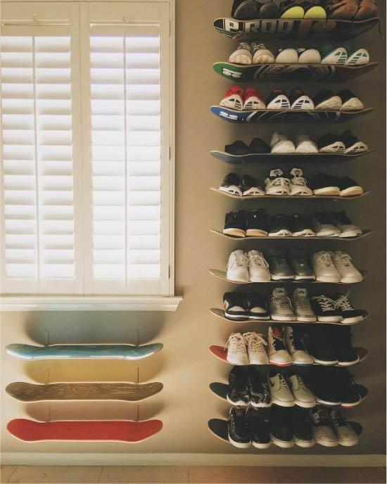 Полки для обуви из скейтбордов