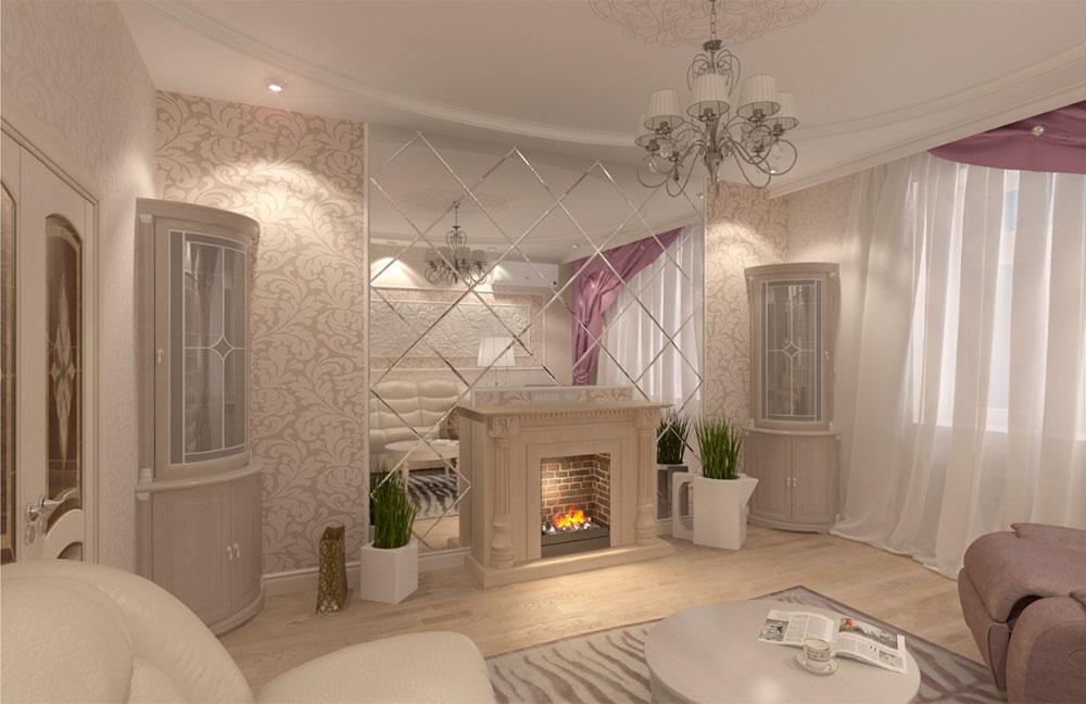 Зеркала в интерьере гостиной с камином