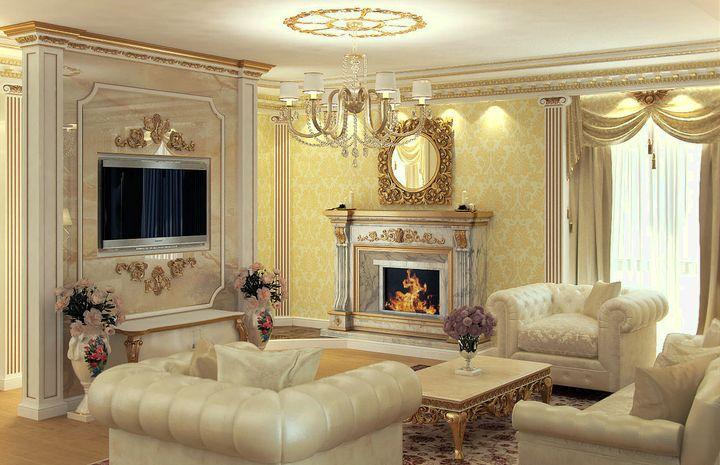 Классический стиль дизайна гостиной с камином