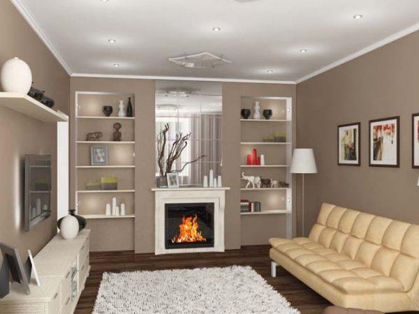 Дизайн гостиных с камином и телевизором