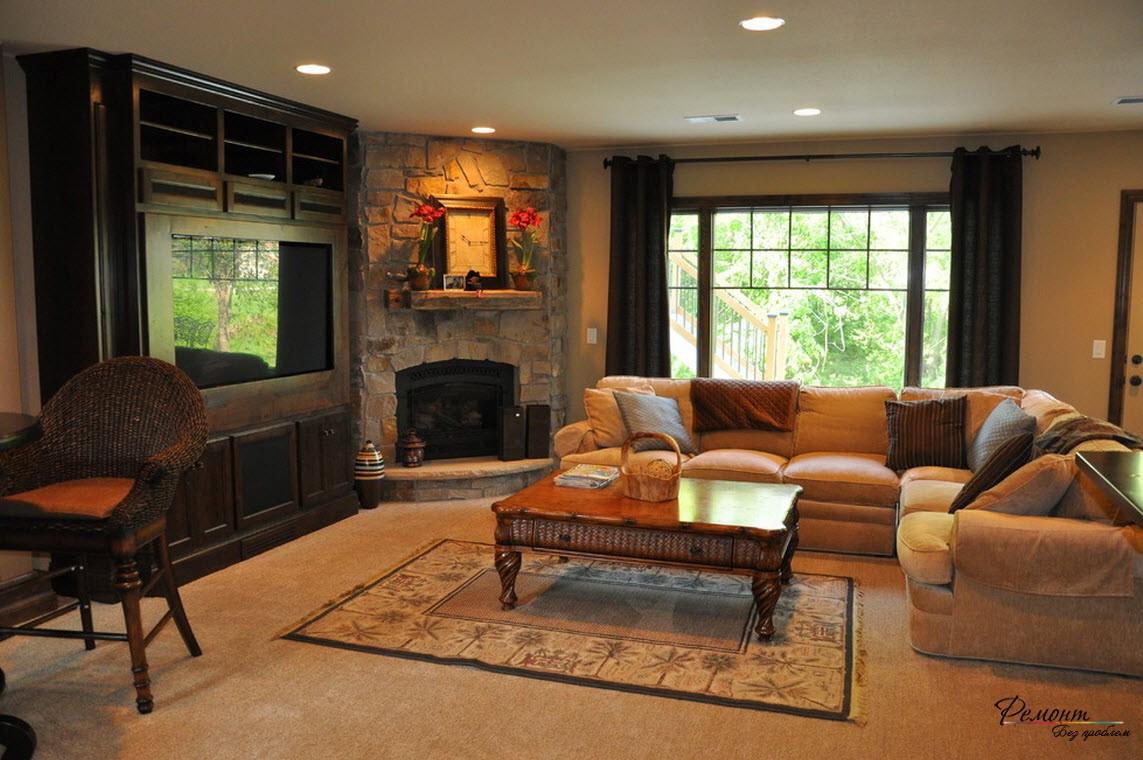 Роскошная гостиная с угловым камином