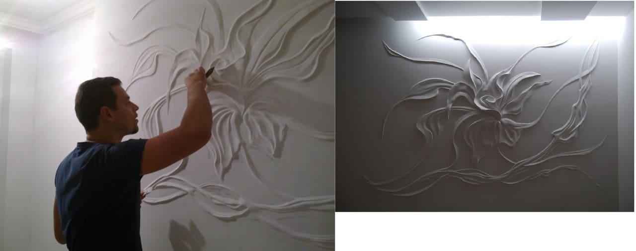 рисунок на стене шпаклевкой