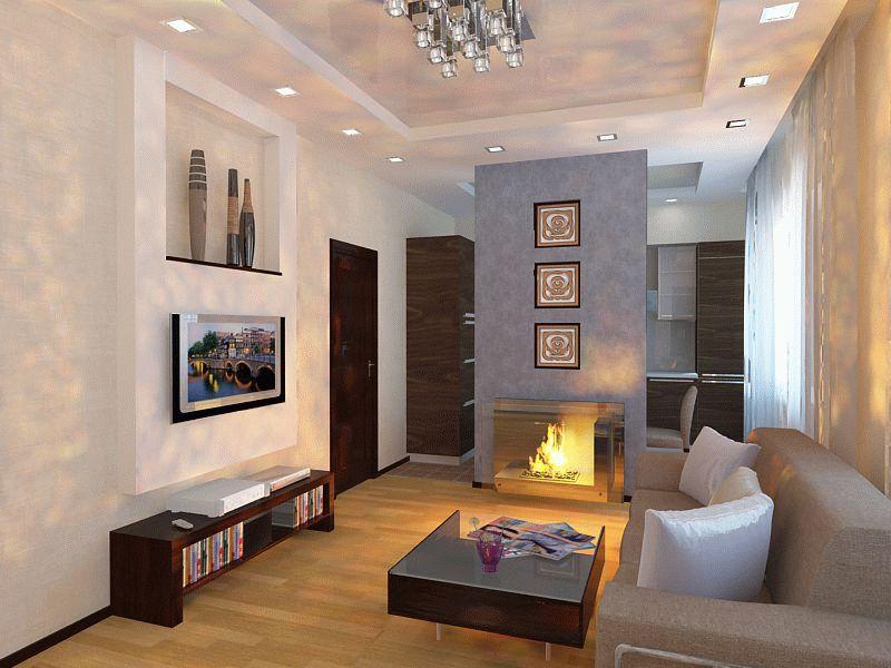 Гостиная с камином в стиле минимализм