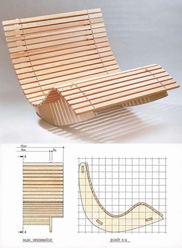 Кресло качалка для сада из фанеры. Чертежи