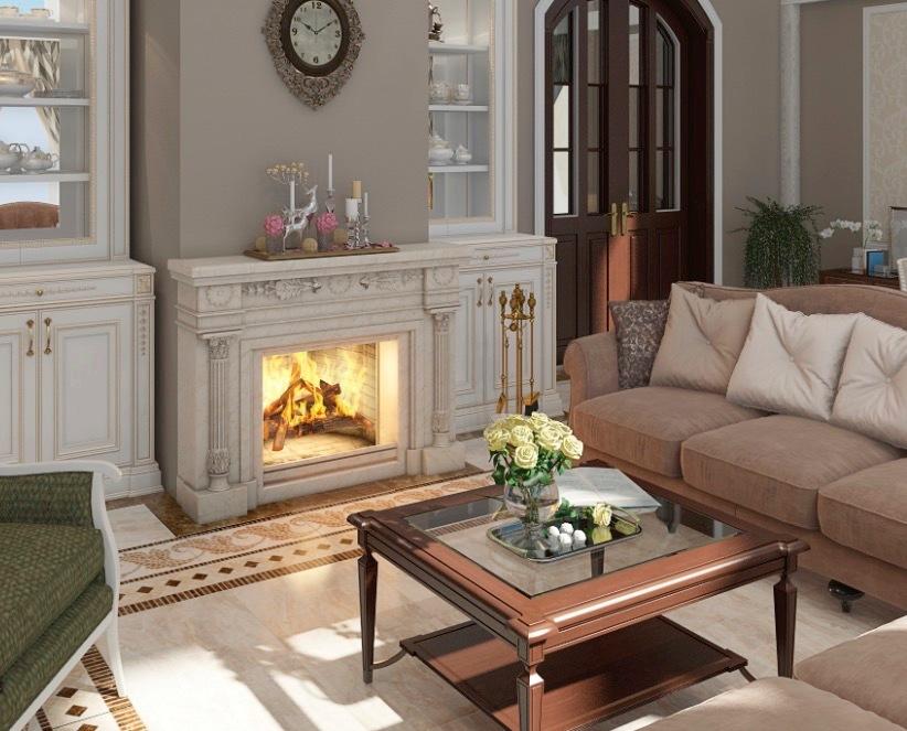 Камин в гостиной в классическом стиле