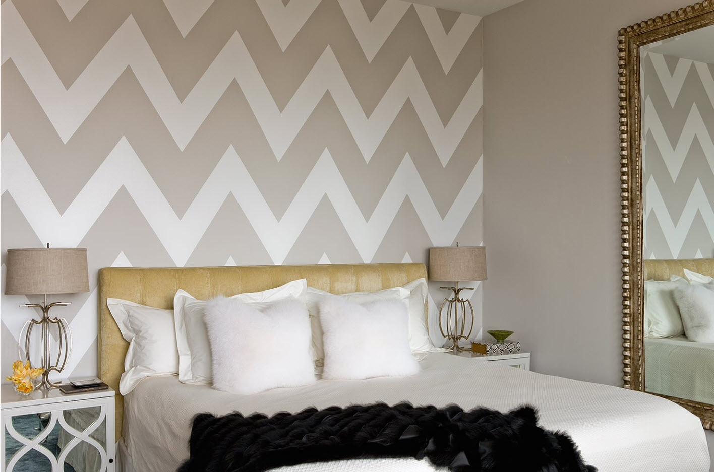 Сдержанные геометрические линии в интерьере спальни