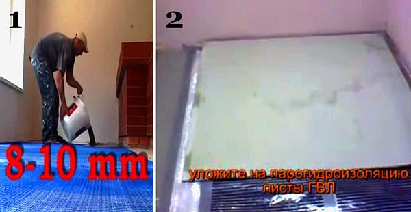 способы укладки плитки на пленку