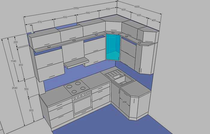 Чертеж кухни с размерами всех шкафов: изготовление мебели своими руками