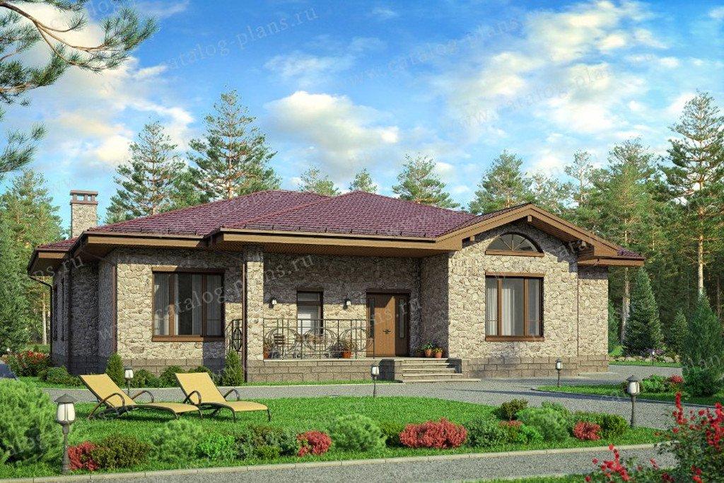 Одноэтажный каменный дом с тремя спальнями. Проект № 58-01