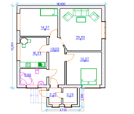 Проект № 3 на две спальни и гостиную