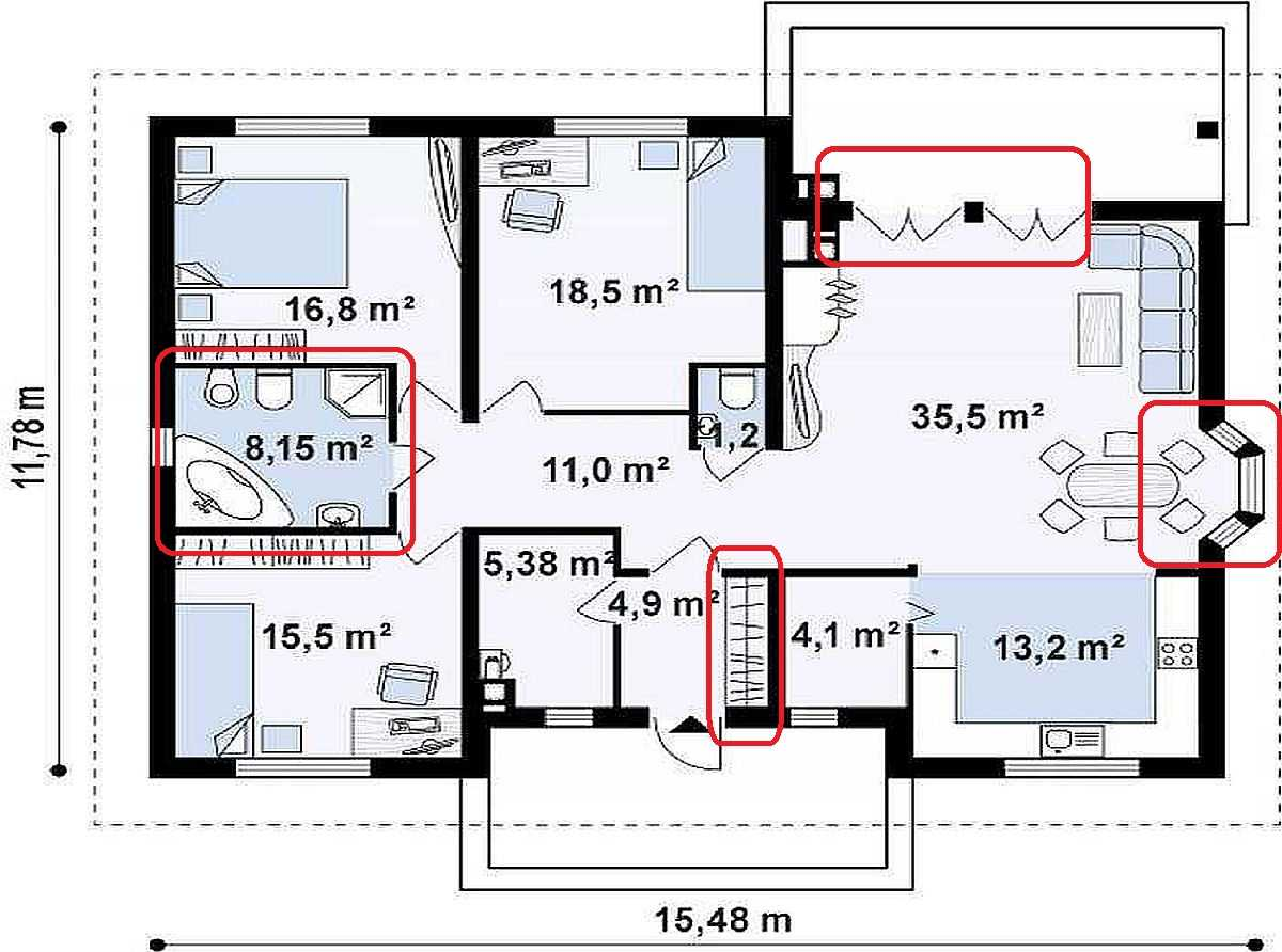 Одноэтажный дом с тремя спальнями, эркером и террасой